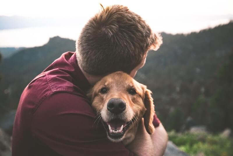 Mensch und Tier Umarmung